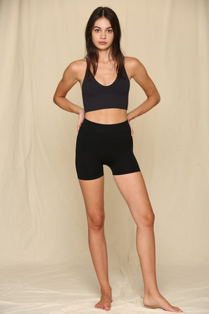 black seamless mini shorts