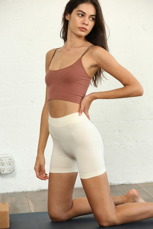 ivory seamless mini shorts