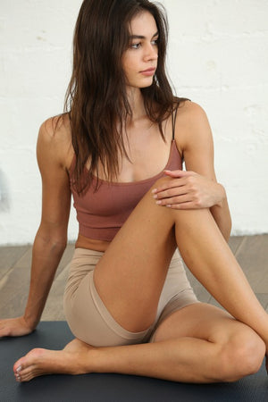 light taupe seamless mini shorts