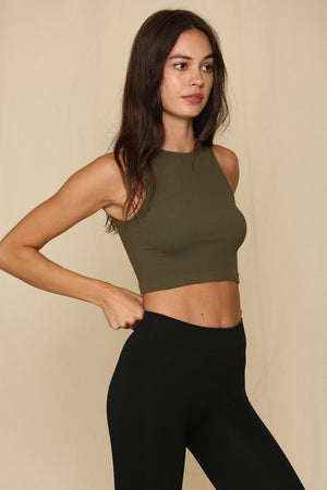 olive ribbed top