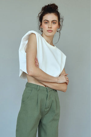 cream cropped muscle tshirt
