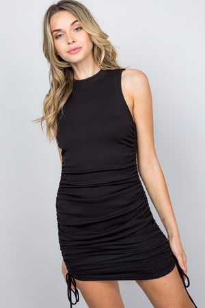 black ribbed ruched dress