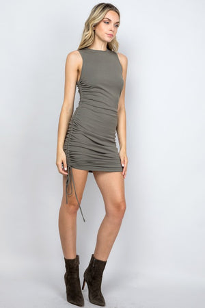 olive ribbed ruched dress