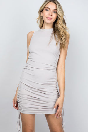 taupe ribbed ruched dress
