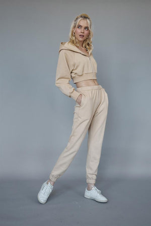 nude cropped hoddie & jogger set
