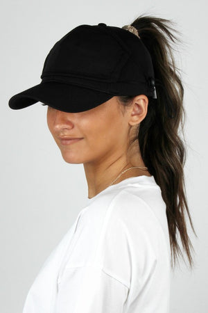 ponytail running black hat