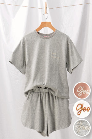grey embroidery shorts set 12 oct