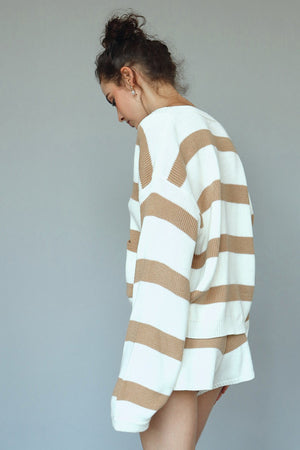 tan striped knit set