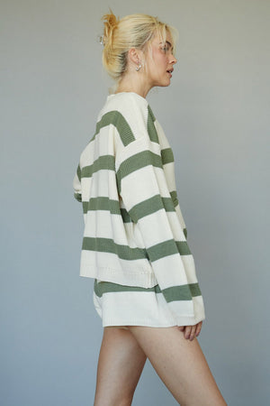 knit sage striped set