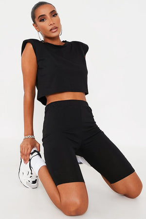 black muscle cropped  tshirt & bikers set