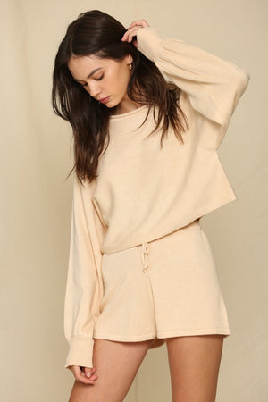 nude knitted shorts set