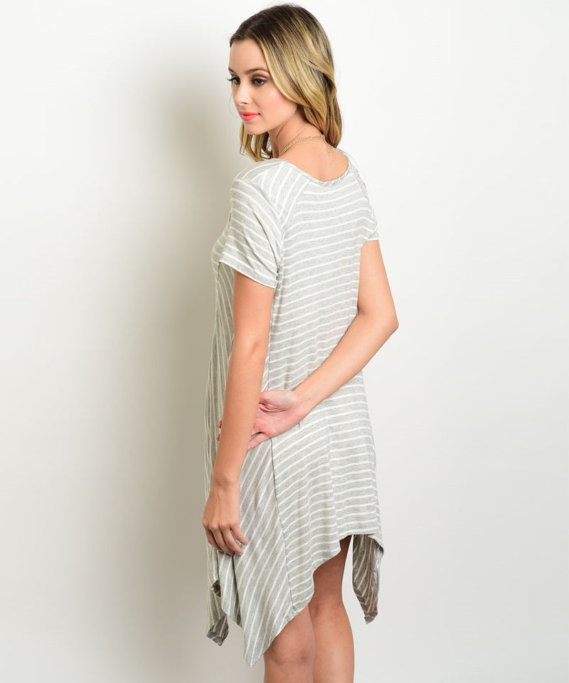 Gray Stripe Tunic Dress