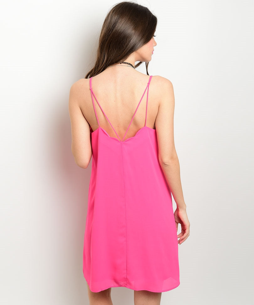 Pink V-Neck Tunic Dress