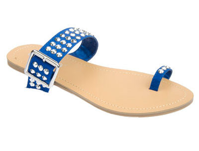 Royal Blue Rhinestone Flat Sandals