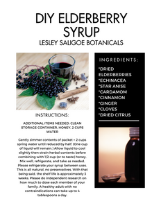 DIY Elderry Syrup. Herbal Immune Boosting Syrup Blend. Sambucus. Make It Yourself Mix.
