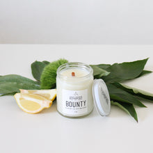 Load image into Gallery viewer, BOUNTY Hand Poured Candle. Heirloom Tomato Leaves. Bluegrass. Meyer Lemon. Basil. 7 oz.