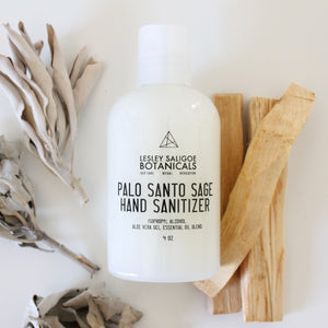 4 oz Palo Santo Sage Hand Sanitizer. 70% Alcohol. Aloe Vera Gel. Essential Oils for Cleansing and Aromatherapy.