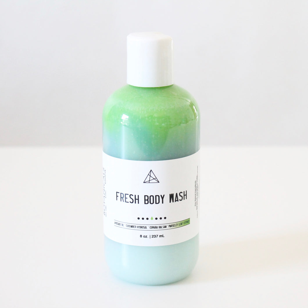 FRESH Body Wash or Lotion. Refreshing Shower Gel w Cucumber Hydrosol and Avocado Oil. Orchid Kale Pear Scent.