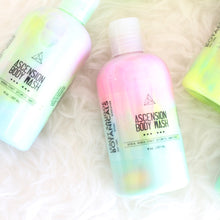 Load image into Gallery viewer, Ascension Body Wash or Lotion. Rainbow Shower Gel. Plum Raspberry Amber Peony Cotton Candy.