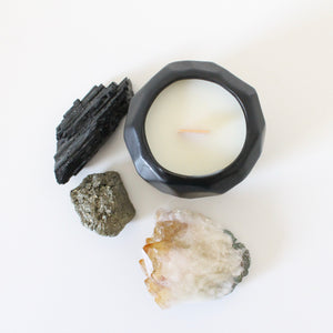 KING Hand Poured Candle. Moss. Gardenia. Wet Fern. Ocean Air. 7 oz. Matte Black Ceramic.