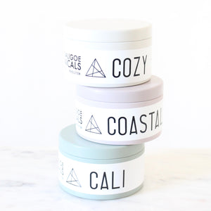 COASTAL Hand Poured Wooden Wick Candle. Salt Air. Seaweed. Myrtle. Honeydew. Vetiver. Vanilla. Blush Tin. 5 oz.