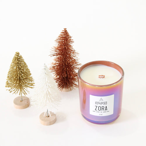 Zora Hand Poured Wood Wick Candle. Orange Lavender Pine Cashmere. 13 oz. Large.