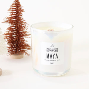 MAYA Hand Poured Candle. Nutmeg. Ginger. Sweet Potato. Brown Sugar.  Wood Wick. 13 oz. Iridescent. Large.