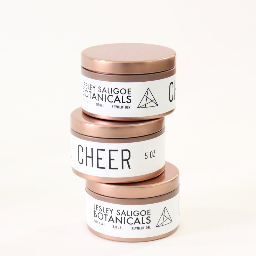 CHEER Hand Poured Candle. Cranberry. Ozonic Quince. Wood Wick. 5 oz. Copper Tin.