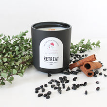 Load image into Gallery viewer, RETREAT Hand Poured Candle. Birch Smoke. Bergamot. Patchouli. Orange. Wood Wick. 14 oz. Matte Black. Large.