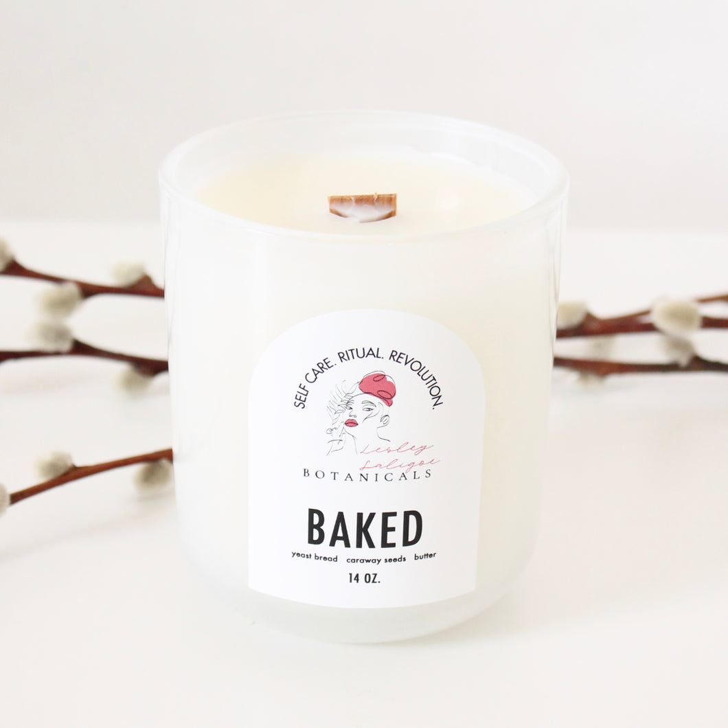 BAKED Hand Poured Candle. Fresh Baked Bread. Caraway. Butter. Yeast Bread. Wood Wick. 14 oz. Ghost White. Large.