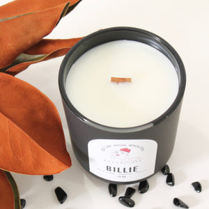 BILLIE Hand Poured Candle. Suede. Cashmere. Tobacco. Smoke. Gardenia. Wood Wick. 14 oz. Matte Black. Large.