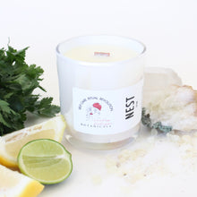 Load image into Gallery viewer, NEST Hand Poured Candle. Lemon. Verbena. Eucalyptus. Sea Salt Mist. Wood Wick. 13 oz. Iridescent White. Large.