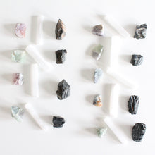 Load image into Gallery viewer, Stress Relief Crystal Healing Set. Mini Selenite Wand. Rainbow Fluorite. Black Tourmaline. - Lesley Saligoe Botanicals