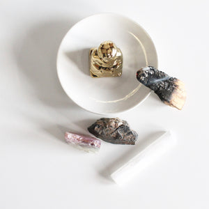 Stress Relief Crystal Healing Set. Mini Selenite Wand. Rainbow Fluorite. Black Tourmaline. - Lesley Saligoe Botanicals