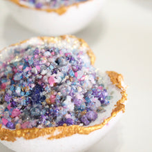 Load image into Gallery viewer, Aura Quartz Geode Bath Bomb. Amber Incense Scent. - Lesley Saligoe Botanicals