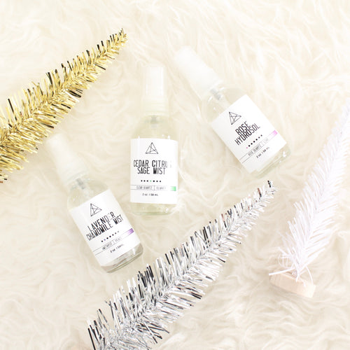 Mini Herbal Mist Trio. Rose Hydrosol. Cedar Sage & Citrus Spray. Lavender Chamomile Mist.