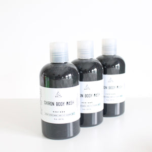 Chiron Body Wash. Detoxifying Shower Gel w Activated Charcoal. Blackberry Sage Scent.