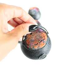 Load image into Gallery viewer, Halloween Cauldron Bath Bomb. Cozy Fall Scent. Orange. Black. Purple. SALE.