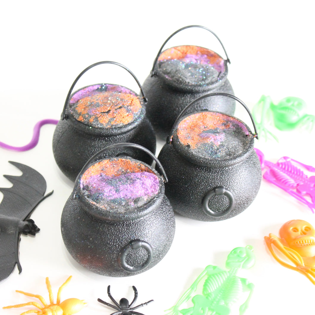 Halloween Cauldron Bath Bomb. Cozy Fall Scent. Orange. Black. Purple. SALE.