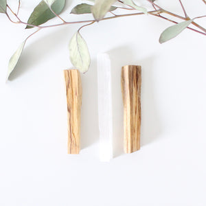 Palo Santo Sticks + Selenite Wand. Natural Incense. Holy Wood. Space + Energy Clearing.