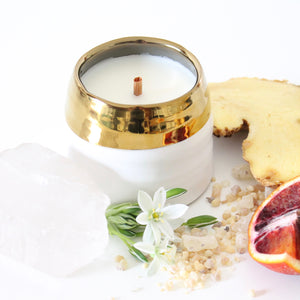 SANCTUARY Hand Poured Candle. Santal. Star Jasmine. Heirloom Leaves. Basil. 7 oz.
