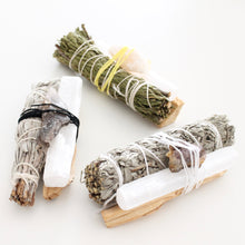 Load image into Gallery viewer, Smoke Cleansing Bundle. Space Cleansing. Cedar. Sage. Palo Santo. Crystal. - Lesley Saligoe Botanicals