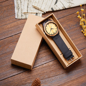 Teak Wood With Leather Strap  (Quartz)