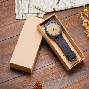 Black Sandal Wood With Leather Strap  (Quartz)
