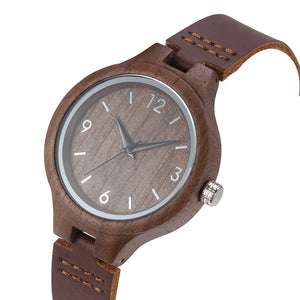 Walnut Wood With Leather Strap  (Quartz)