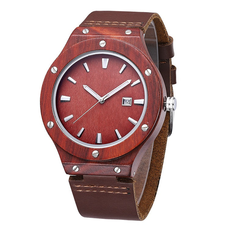 Red sandal Wood With Leather Strap  (Quartz)
