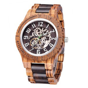 DELUX Automatic Mechanical Timepieces Zebra & Black Sandal Wood