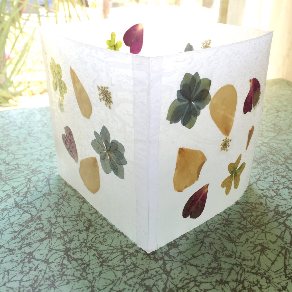 pressed flower luminaries - IMPRESSED by nature