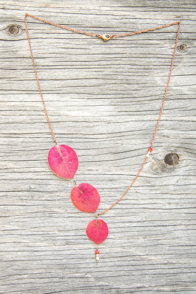 Fuchsia Bougainvillea Pressed Flower Necklace