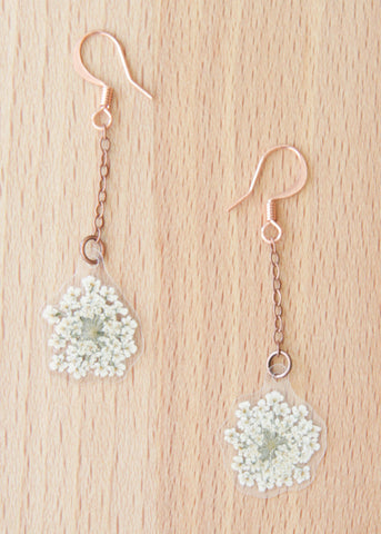 White Queen Anne's Lace Pressed Flower Earrings